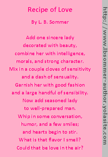 Recipe of Love poem by L. B. Sommer, author of 199 Ways To Improve ...
