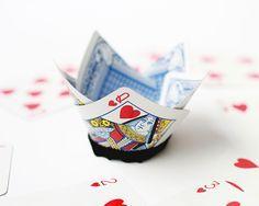 DIY Queen of Hearts card crown.