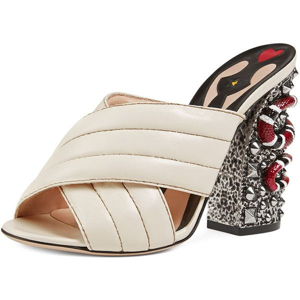 f3c8a45d22b Gucci Webby Quilted Leather Snake-Heel Mule Sandal ($1,040) ❤ liked ...