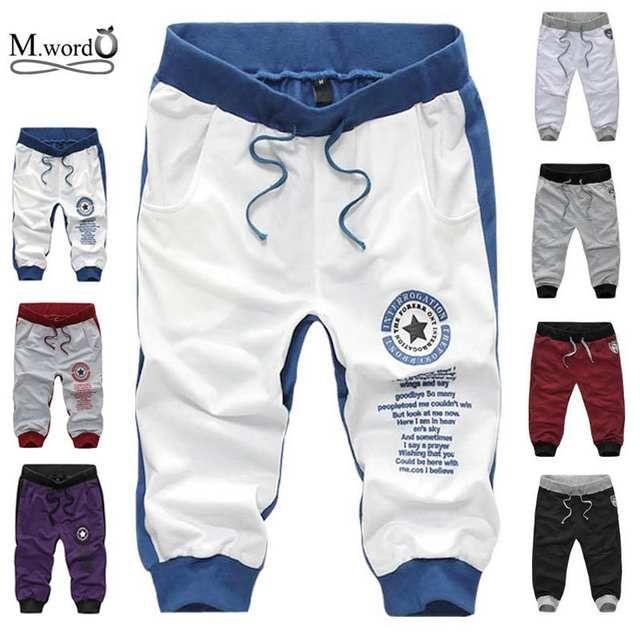 Pantalones cortos de algodón de la nueva moda de los hombres de verano 2019 pantalones cortos ocasionales de la letra de los hombres 7 colores