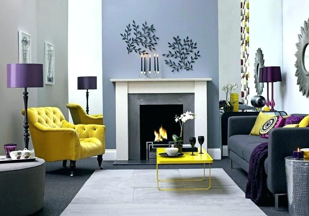 Purple Yellow Home Decorating Ideas Living Room Fireplace