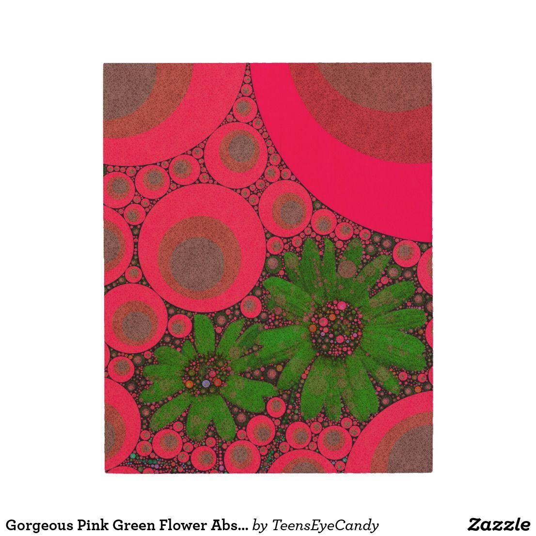 Gorgeous pink green flower abstract wood wall art flower artists