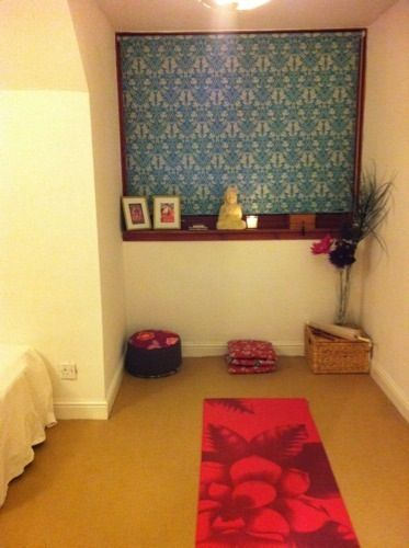 This is what a yoga room looks like in a house that is actually lived in.