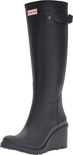 Hunter W Original Refined Mid Wedge Tall Rain Boots Black