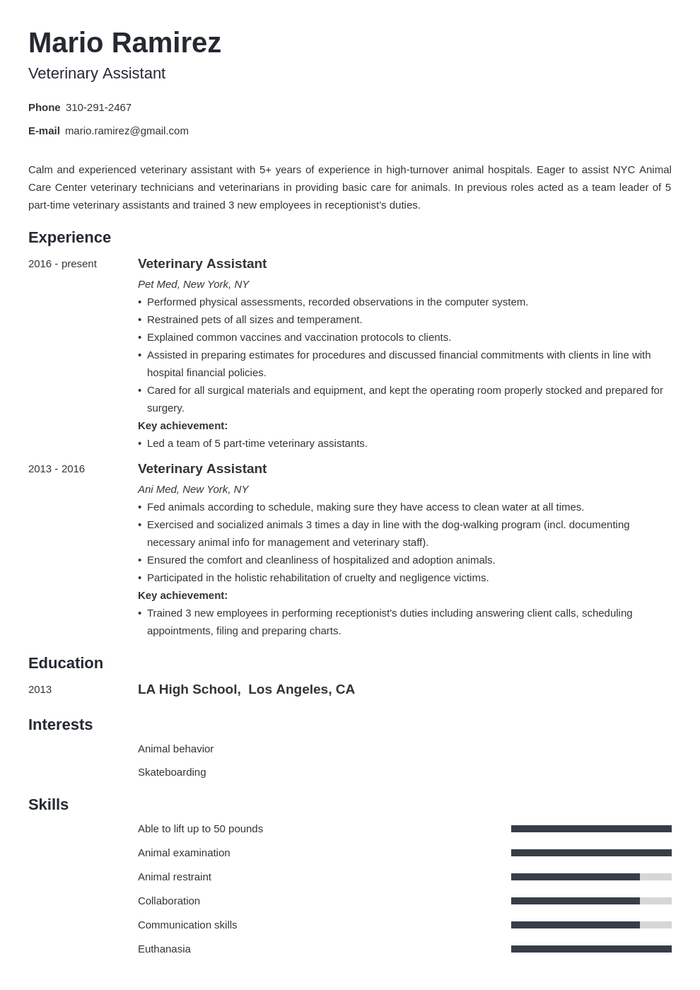 Veterinary Assistant Resume Example Template Minimo Resume Examples Resume Cover Letter Examples Job Resume Examples