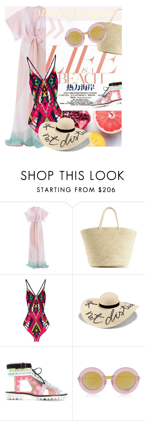 """Life Is A Beach: Mirrored Sunglasses"" by junglover ❤ liked on Polyvore featuring Issa, Sensi Studio, Mara Hoffman, Eugenia Kim, Sophia Webster, Markus Lupfer, polyvoreeditorial, polyvorecontest and springsummer2015"