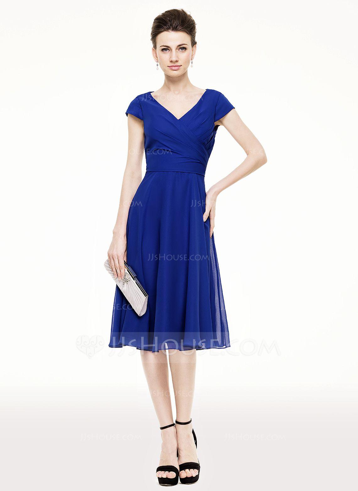 Mid length dresses for wedding guests  ALinePrincess Vneck KneeLength Chiffon Mother of the Bride Dress