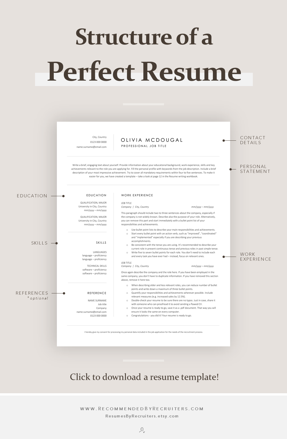 Simple and Clean Resume Template Professional Business CV