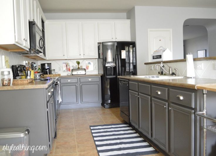 Painting Your Kitchen Cabinets Is No Small Undertaking: Gray Cabinets With Tan Counter - Google Search