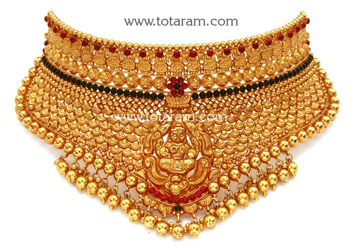 22K Gold 'Lakshmi' Choker (Temple Jewellery) | 22 Karat Gold