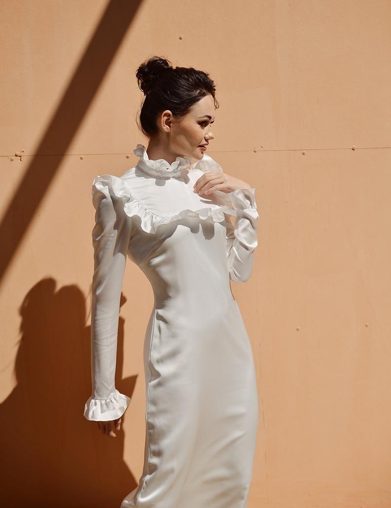 Silk Dress White Long Sleeve Silk Dress Women Long Silk Etsy Long Sleeve Silk Dress Silk Dress Long White Long Sleeve [ 1032 x 794 Pixel ]