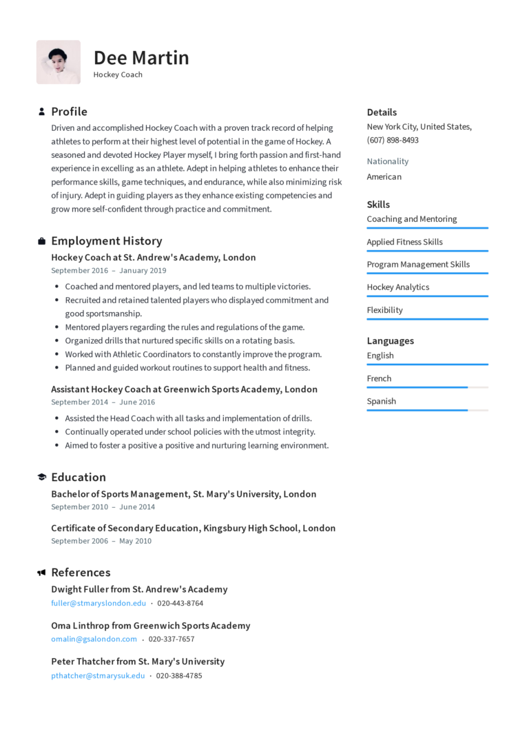 Hockey Coach Resume Templates 2020 (Free Download