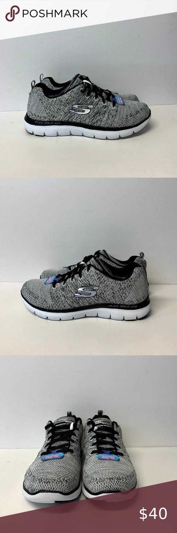 Predownload: Skechers Flex Appeal 2 0 12756 Wbk Fabric Shoes Skechers Training Sneakers [ 1740 x 580 Pixel ]