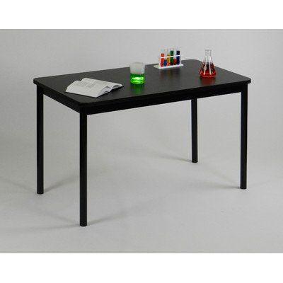 Correll Lt3048 07 Lab Table 36 Height 1 1 4 Thick High Pressure Laminate Top 2 Round Steel Legs 30 X 48 Black Granite Top With Black Frame Steel Legs Granite Tops Black Granite