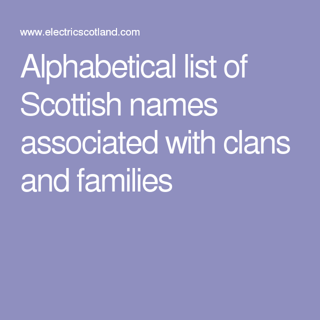 Alphabetical list of Scottish names associated with clans