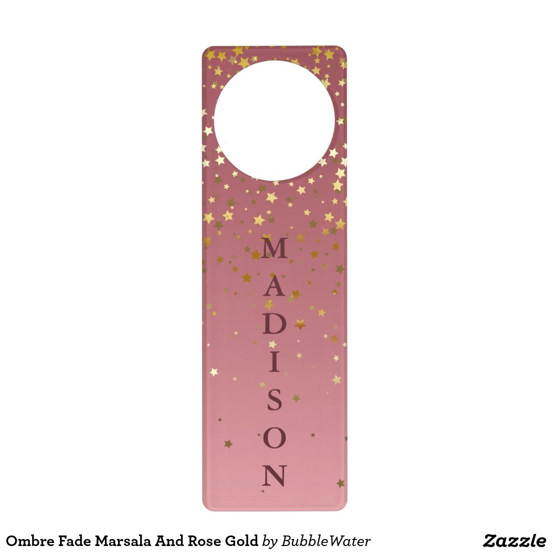 Ombre Fade Marsala And Rose Gold Door Hanger