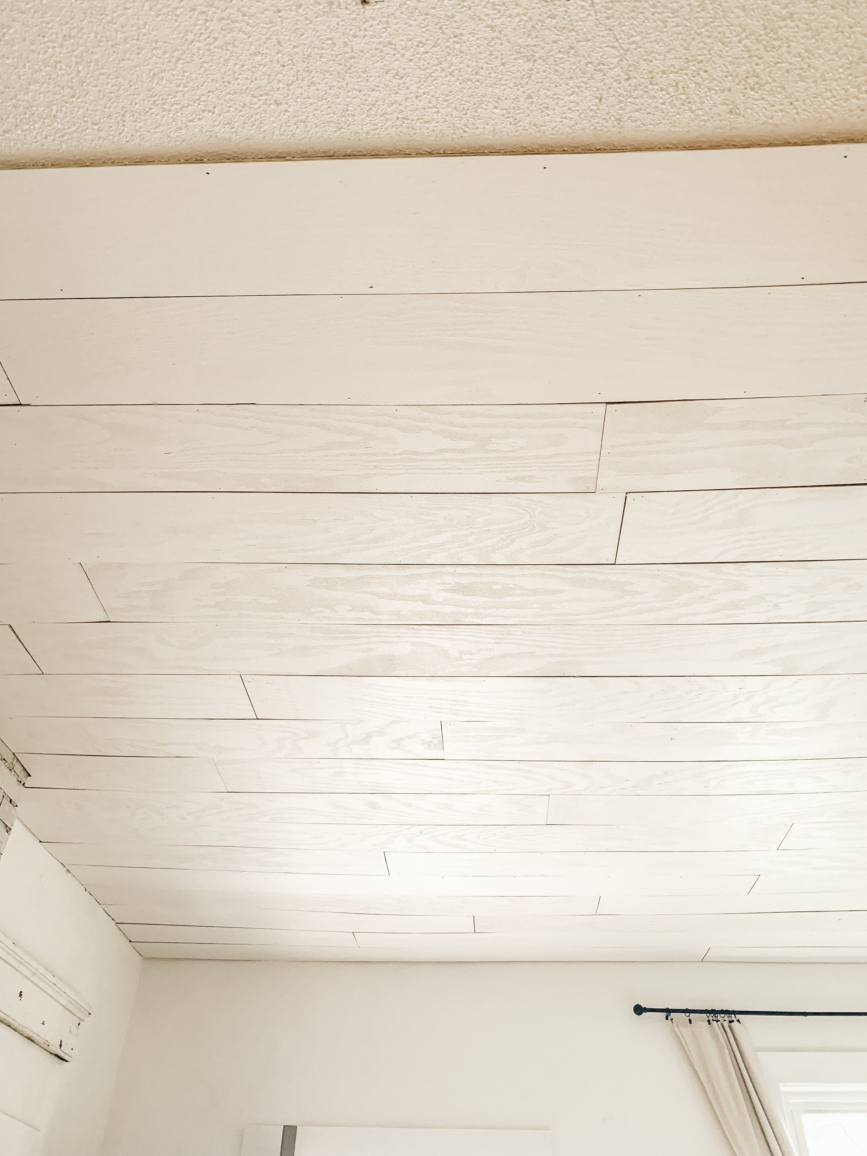 Plywood Plank Over Popcorn Ceiling