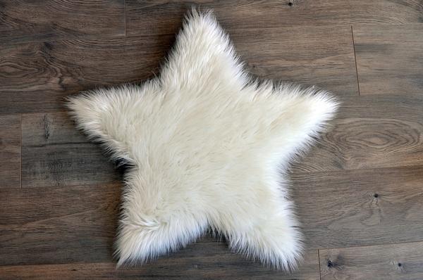 Machine Washable Faux Sheepskin White Star Area Rug