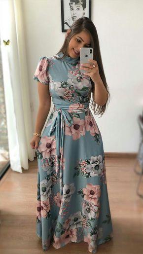 Vestidos De Flores Rosa Lomgo En 2019 Vestidos Floreados