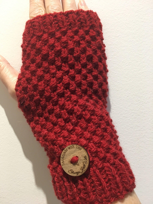 Handmade red Handwarmers, Fingerless gloves, wristwarmers, red ...