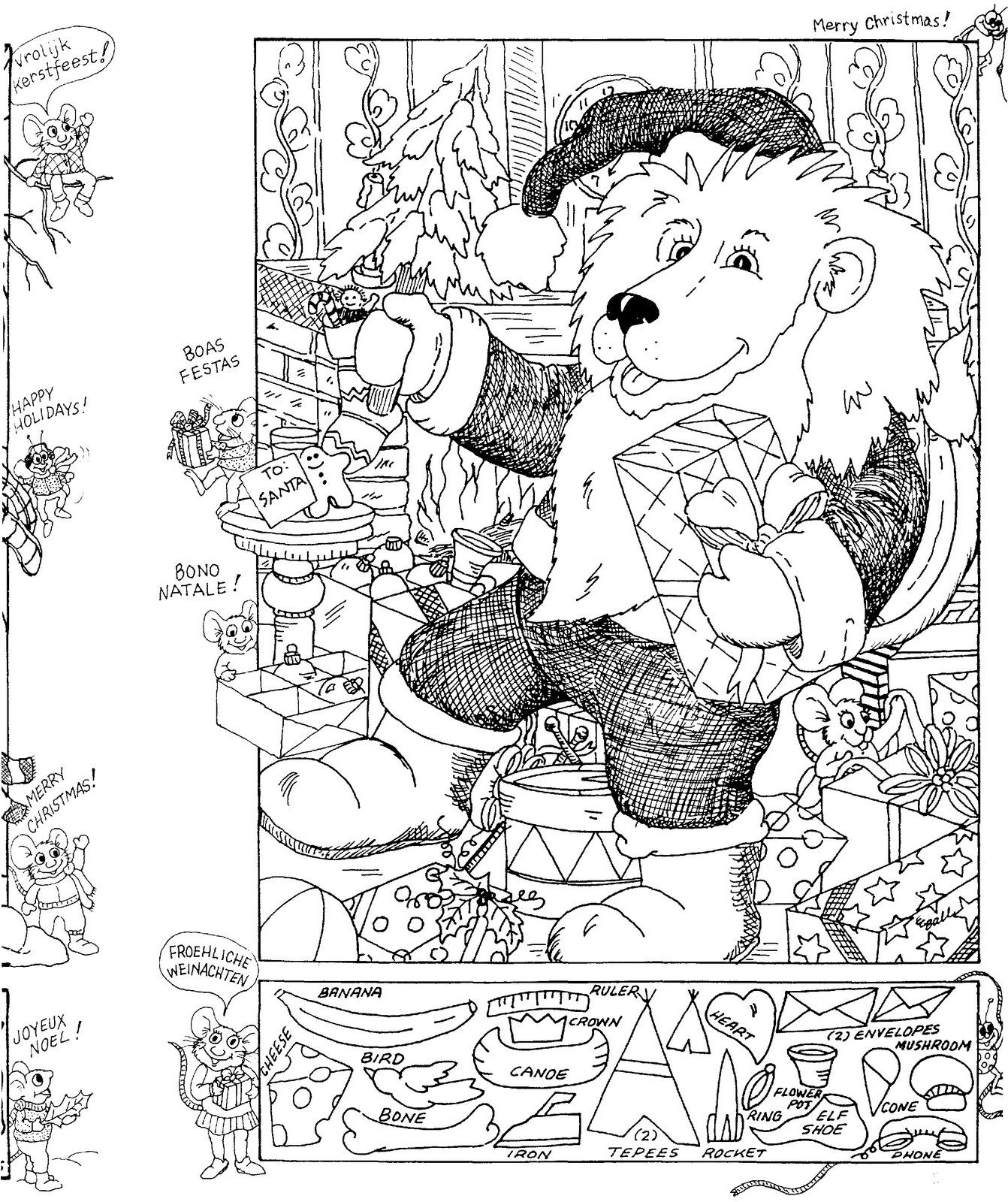 Christmas Hidden Picture Puzzle Coloring Page