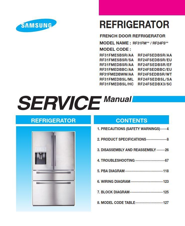 Samsung Rf31fmesbsr Rf31fmedbsr Rf31fmedbbc Rf31fmedbww Rf31fmedbsl Service Manual And Repair Refrigerator Models Disassembly Samsung Refrigerator French Door