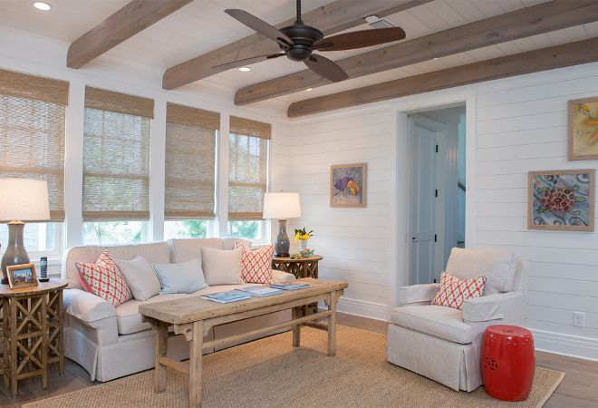 Best Living Room Shiplap Walls Painted In Benjamin Moore White 640 x 480