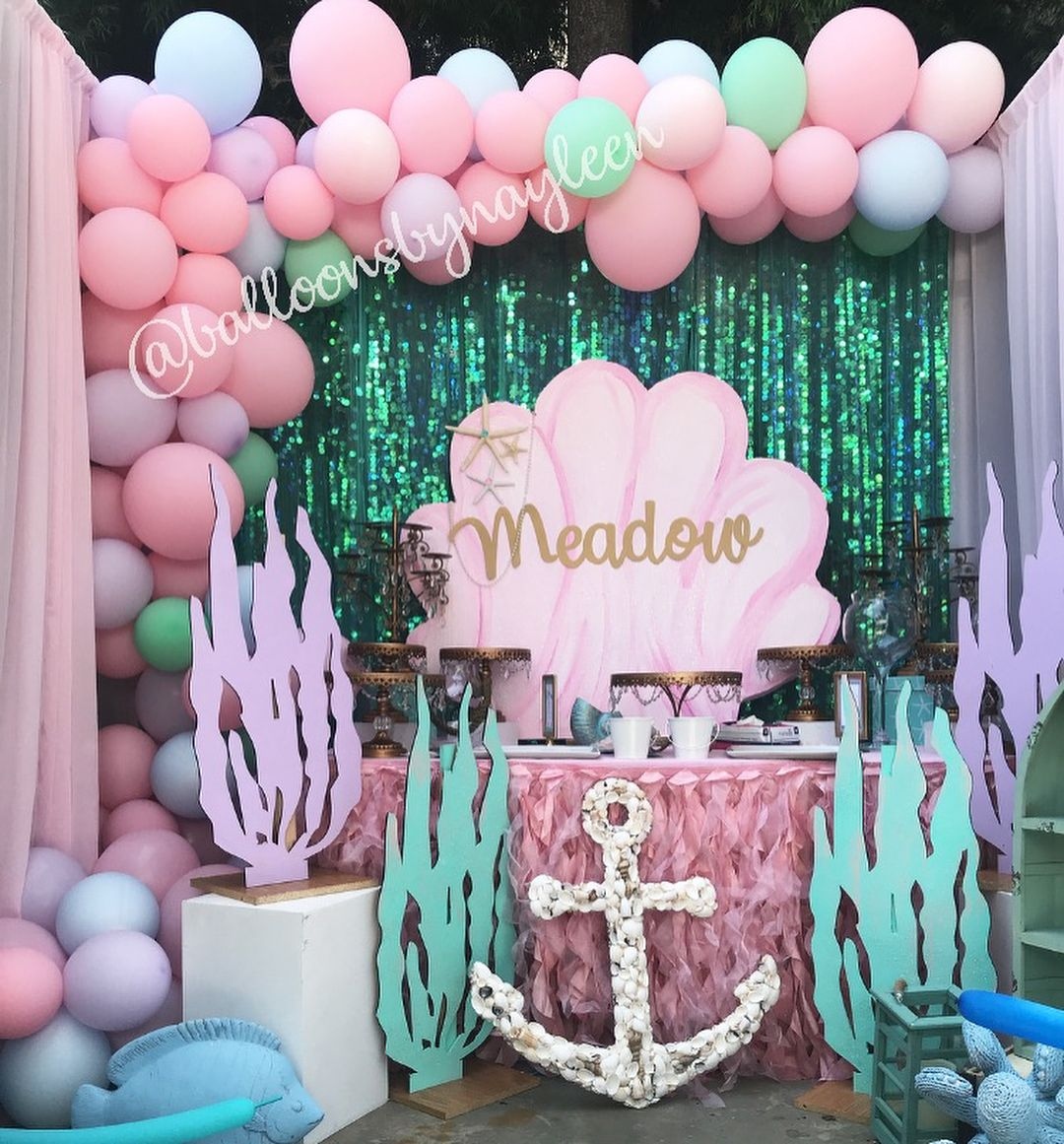 Mermaid Party Setup Mermaid Birthday Party Decorations Mermaid Theme Birthday Party Mermaid Birthday Party