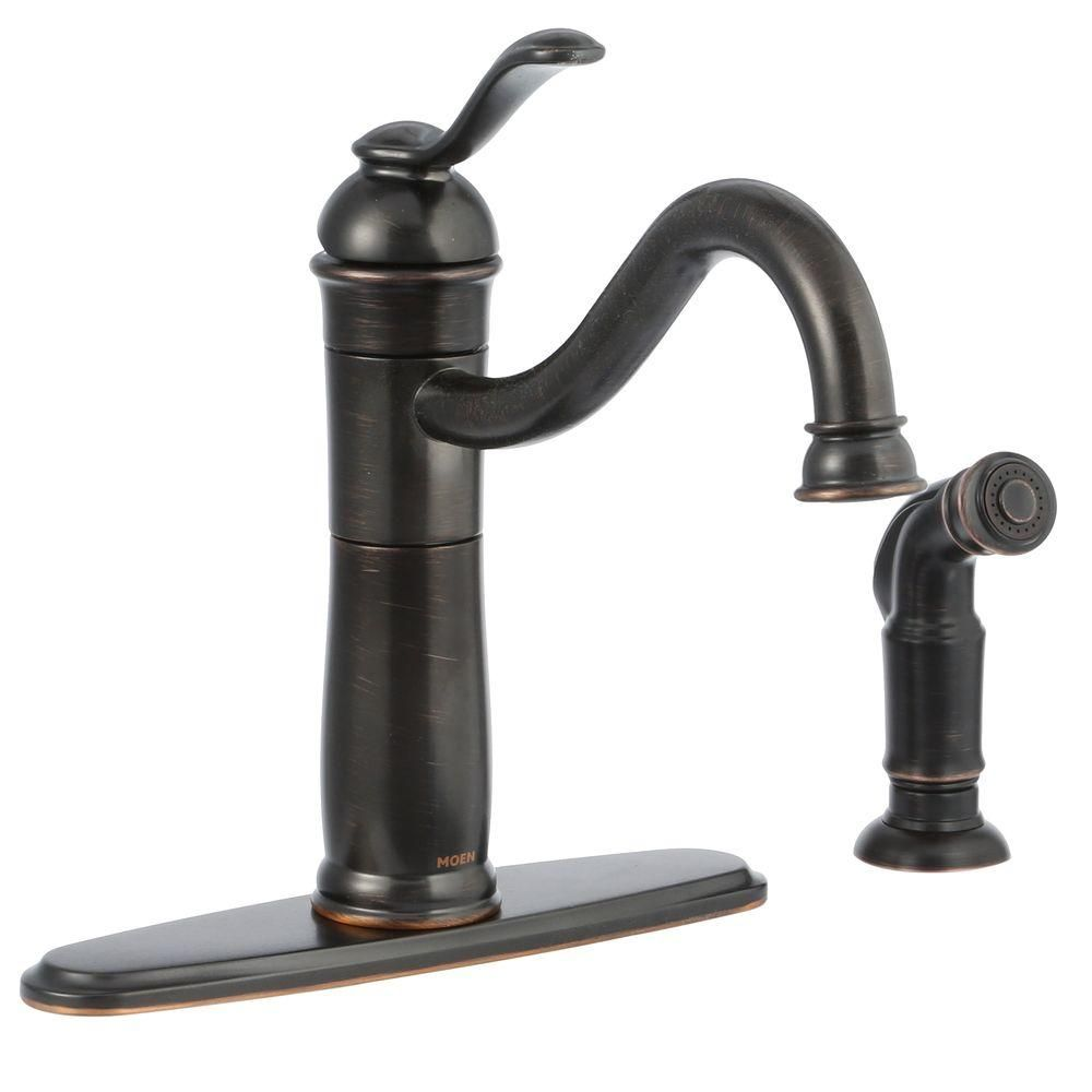 Walden Single Handle Standard Kitchen Faucet With Side Sprayer And Microban Protection In Mediterranean Bronze