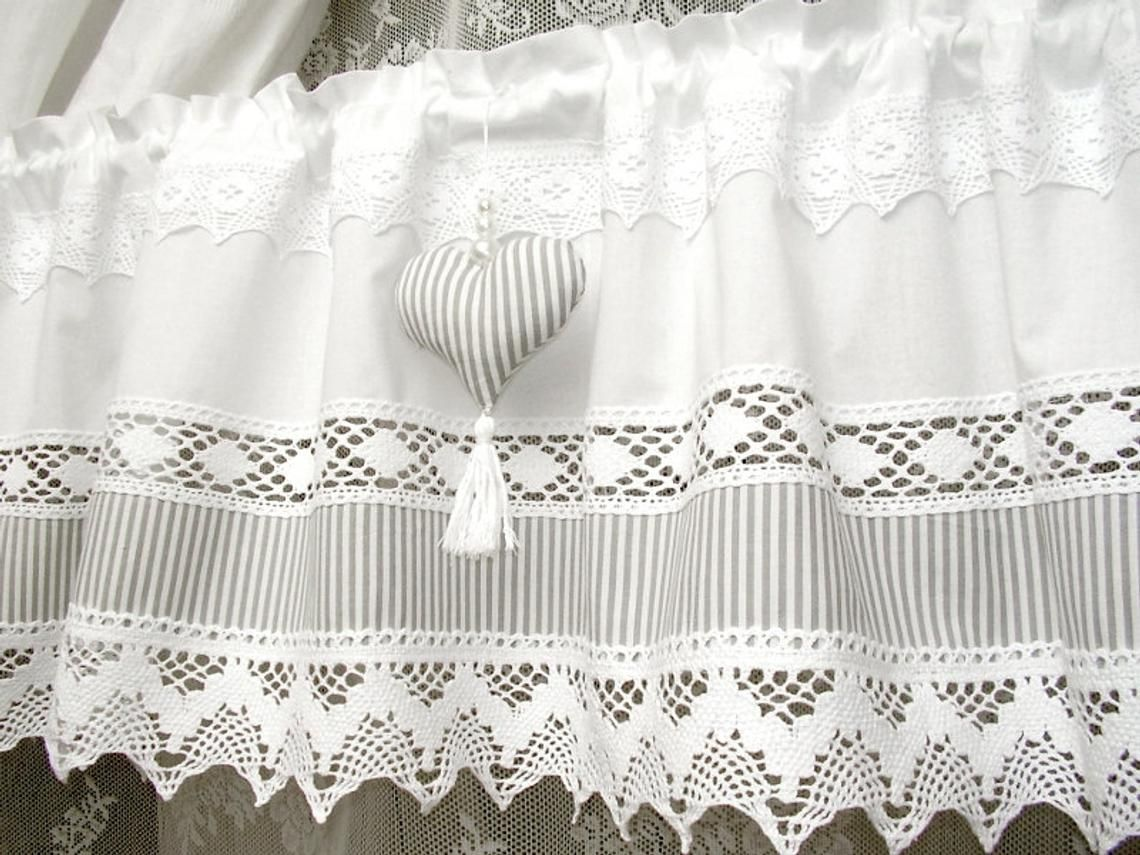 Swedish country house curtain with grey stripes and heart