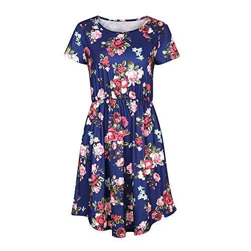 Keven Damen Kurzarm Sommerkleider mit Blumen Rundhals ...