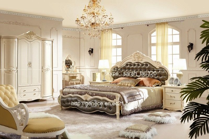 Elegant Luxury European Bedroom Sets Golden Foil Flower Carved Solid Wood Frame Top  Grain Leather Bed US
