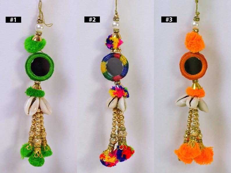 8 Pieces Metallic Tassels Jewelry Making Decorative Handmade DIY Crafting Tassels Christmas Home Decor Charms Gypsy Boho Latkan Keychains