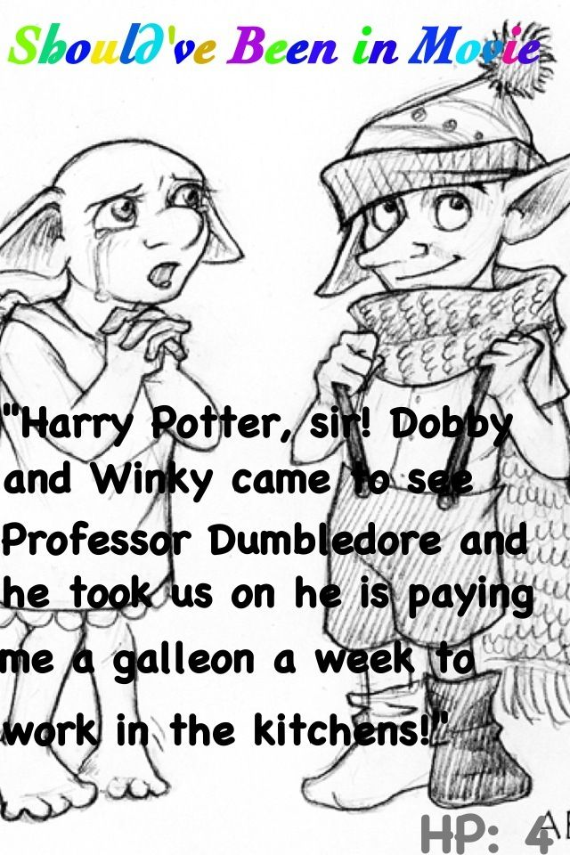 Harry Potter And The Goblet Of Fire Should Ve Been In Movie Dobby Winky Hogwarts Kitchen Harry Harry Potter Movies Potterhead Hogwarts