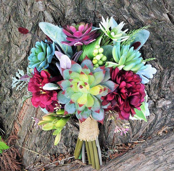 Burgandy Succulent Bouquet Avec Images Bouquet Mariee Mariage