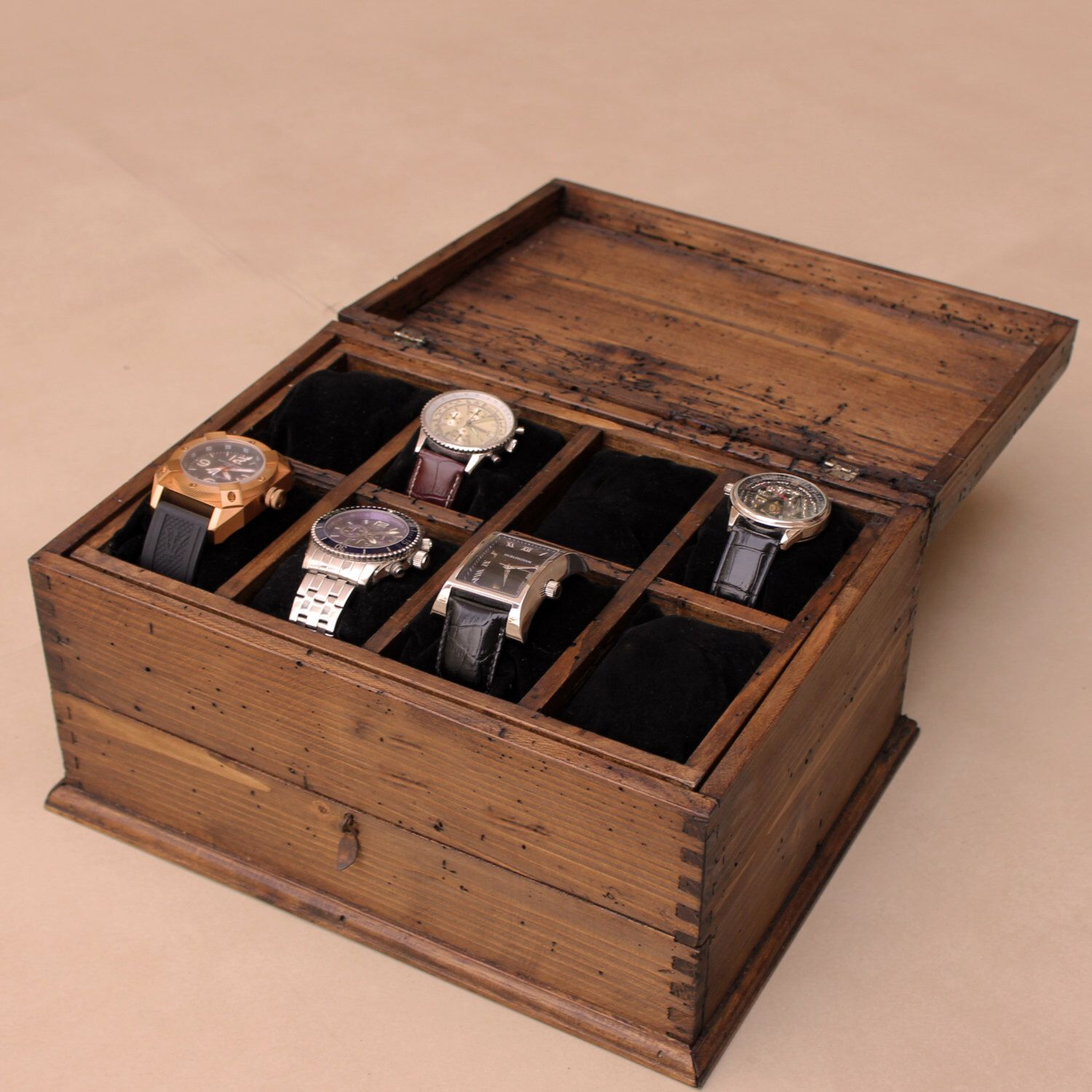 Personalized Rustic Men 39 S Watch Box For 8 Watches And Drawer Mens Watch Box Watches For Men Watch Box