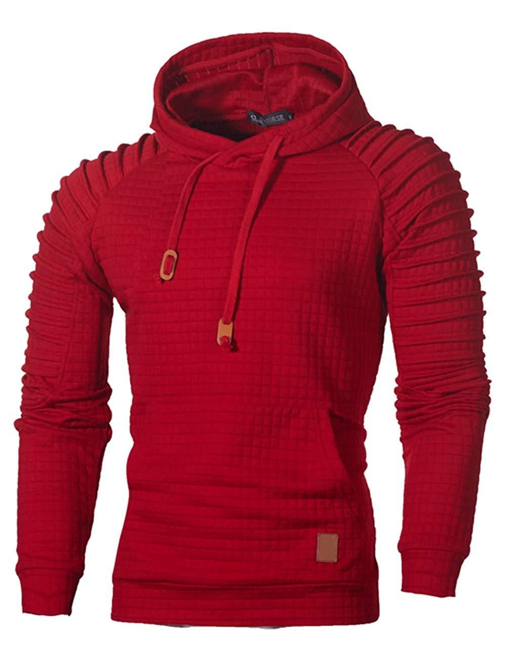 48103ae43 Sexyshine Men's Spring Autumn Winter Casual Long Sleeve Funnel Neck Plaid  Jacquard Pullover Hooded Top Sweatshirt Hoodies