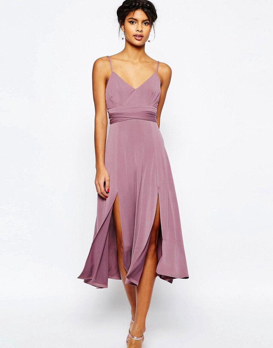 ASOS+Cami+Tie+Waist+Double+Split+Midi+Dress | Style Board | Pinterest