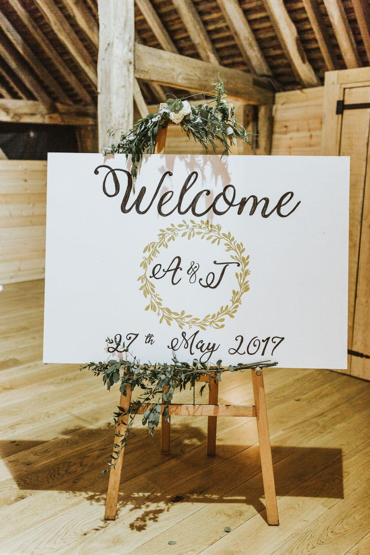 Barn wedding with fairy lights  Welcome Wedding Sign  DIY Barn Wedding With Fairy Lights At The