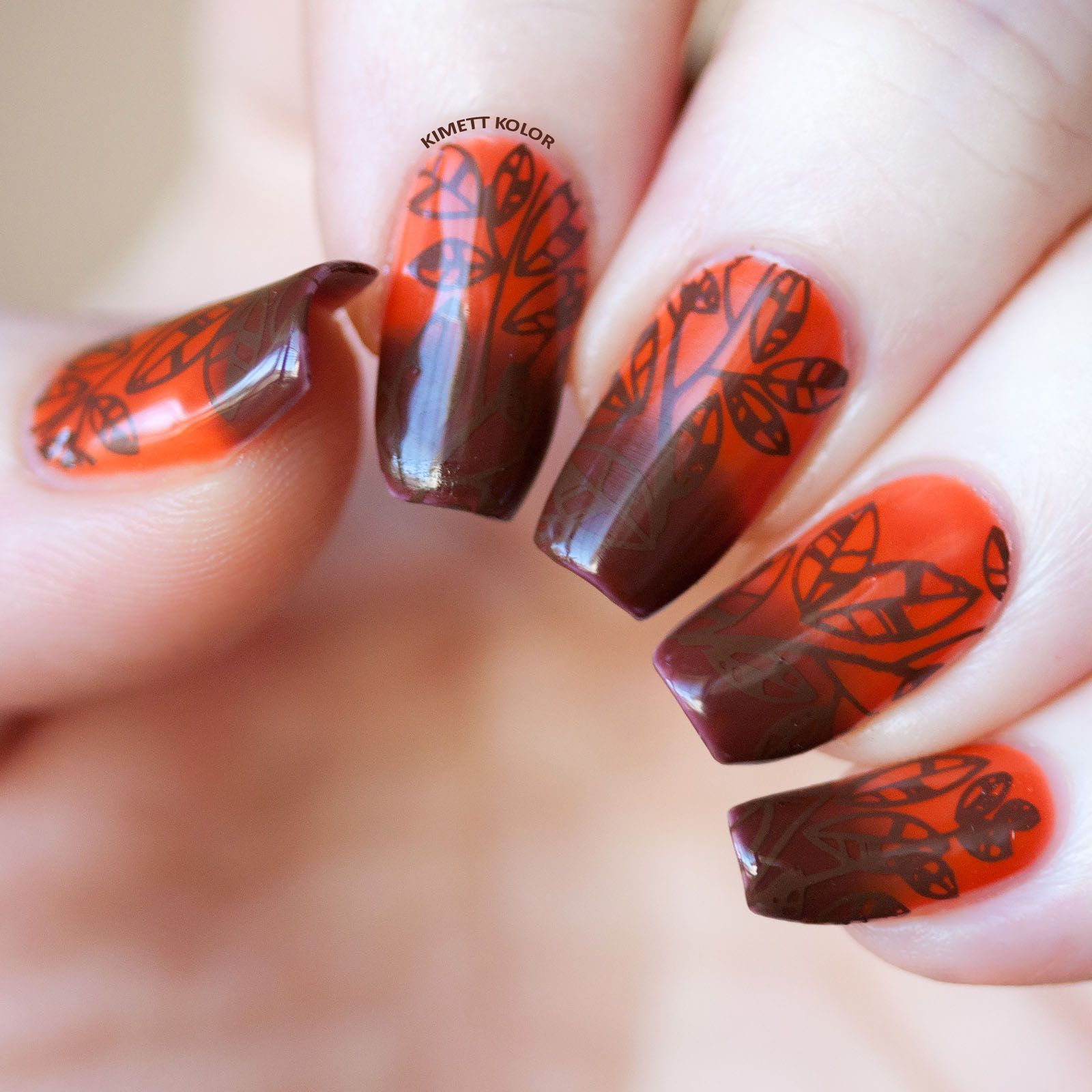 Stamping nail art with thermal color changing gel polish.