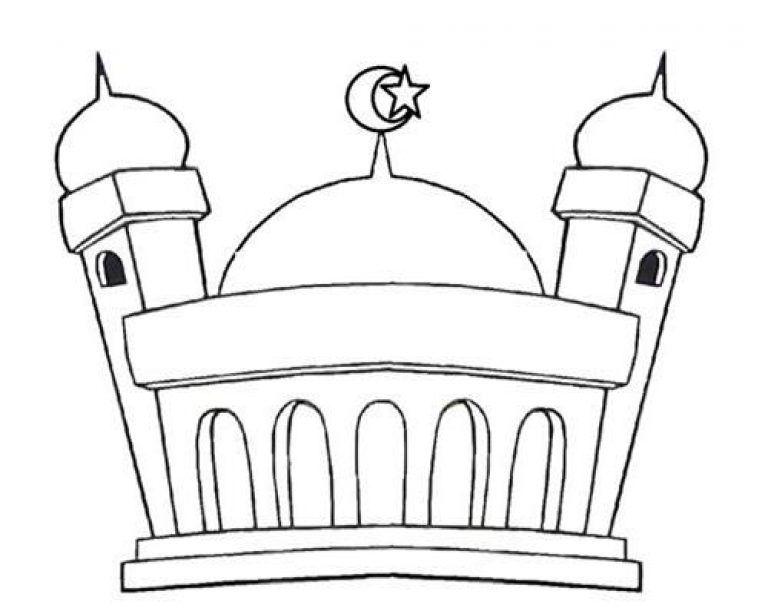 Mewarnai Gambar Masjid Untuk Anak Paud Gambar Warna Anak