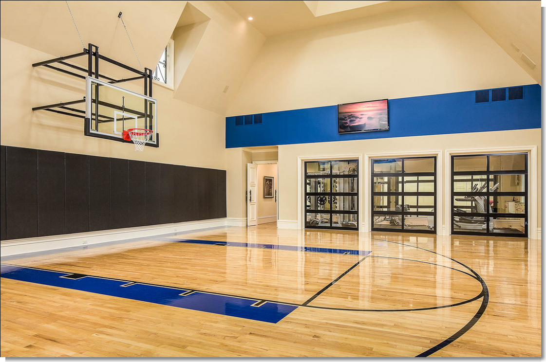 Like The Glass Paneled Garage Doors Surrounding The Home Gym Home Basketball Court Home Gym Design Indoor Sports Court
