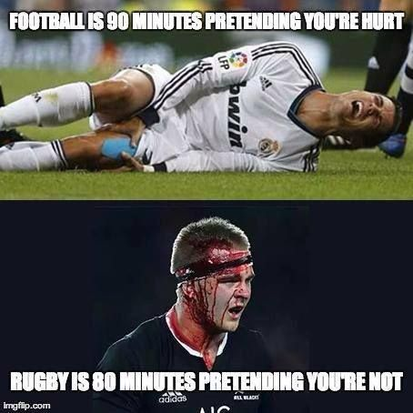 Football Is 90 Minutes Pretending You Are Hurt Rugby Is 80 Minutes Pretending You Re Not With Images Rugby Memes Rugby Funny Rugby