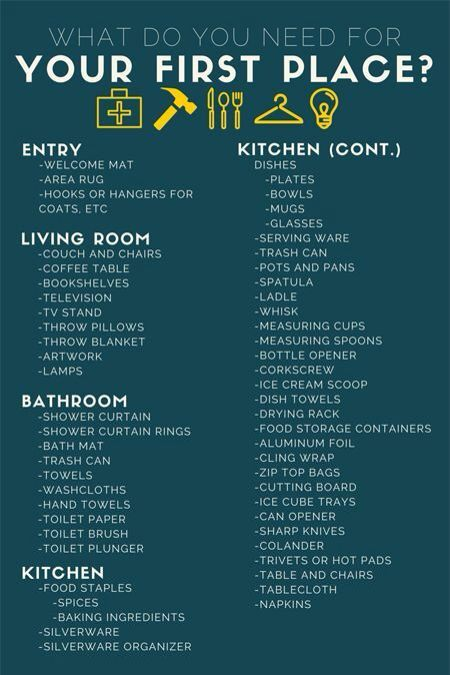 what do you actually need for your first apartment apartment apartment checklist new. Black Bedroom Furniture Sets. Home Design Ideas