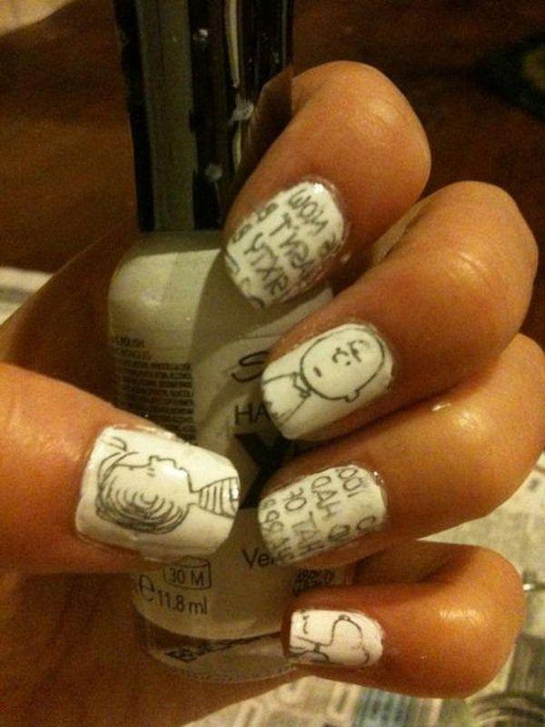 Newspaper Nails, Cool Newspaper Nail Art Ideas, http://hative.com ...