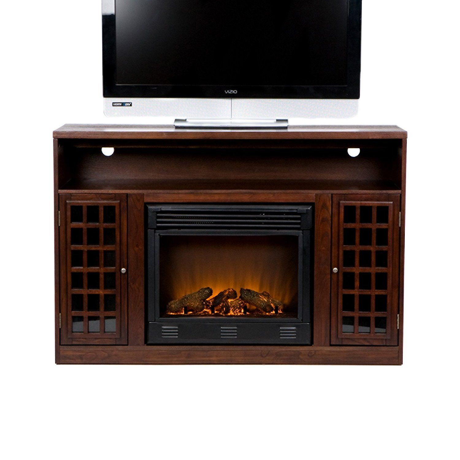 Asian Inspired Media Console With Electric Fireplace And Glass