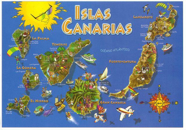 Canary Islands, Spain Map Postcard   Maps   Canary islands, Canarian ...