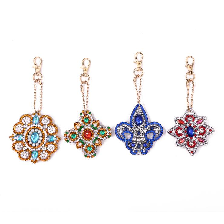 Full Drill Diamond Painting Keyrings Key Chain Jewelry 4pcs DIY Special-Shaped