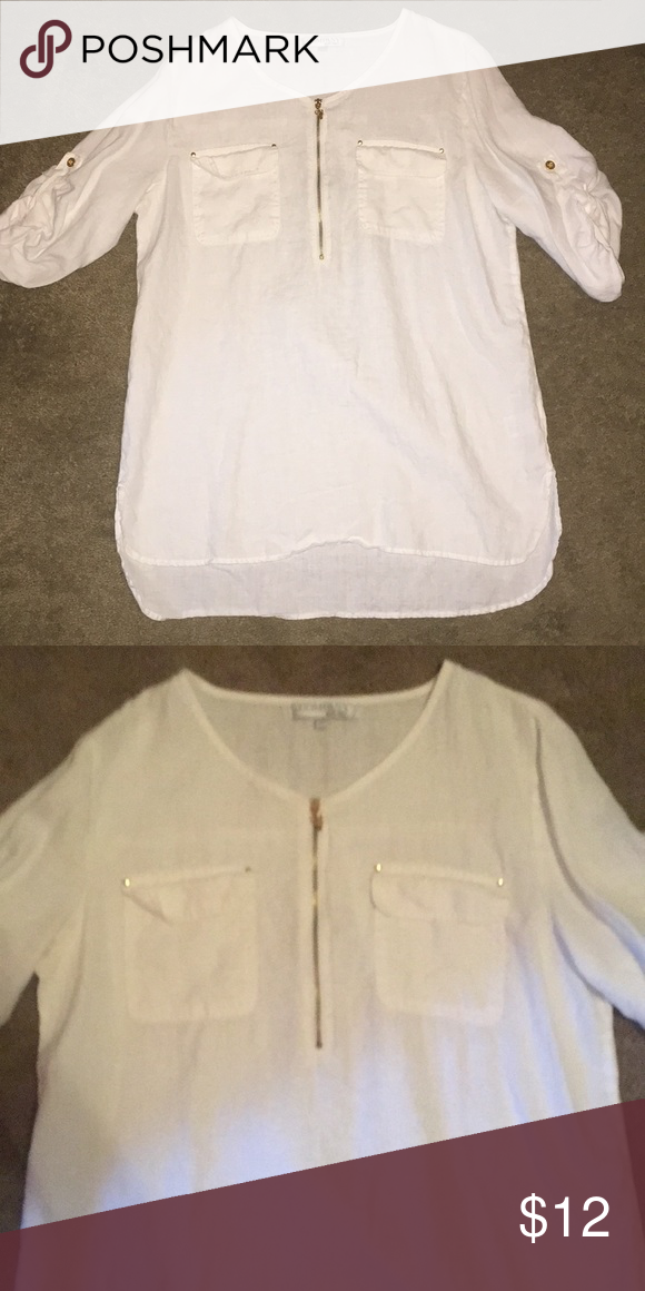 4bf81eebce0d35 White blouse White blouse with gold zipper and buttons Ellen Tracy Tops  Blouses