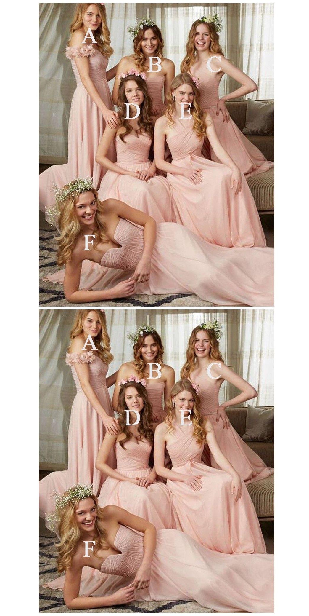 Young girls wedding dresses  Young Girls Mismatched Chiffon Pretty Cheap Long Bridesmaid Dresses